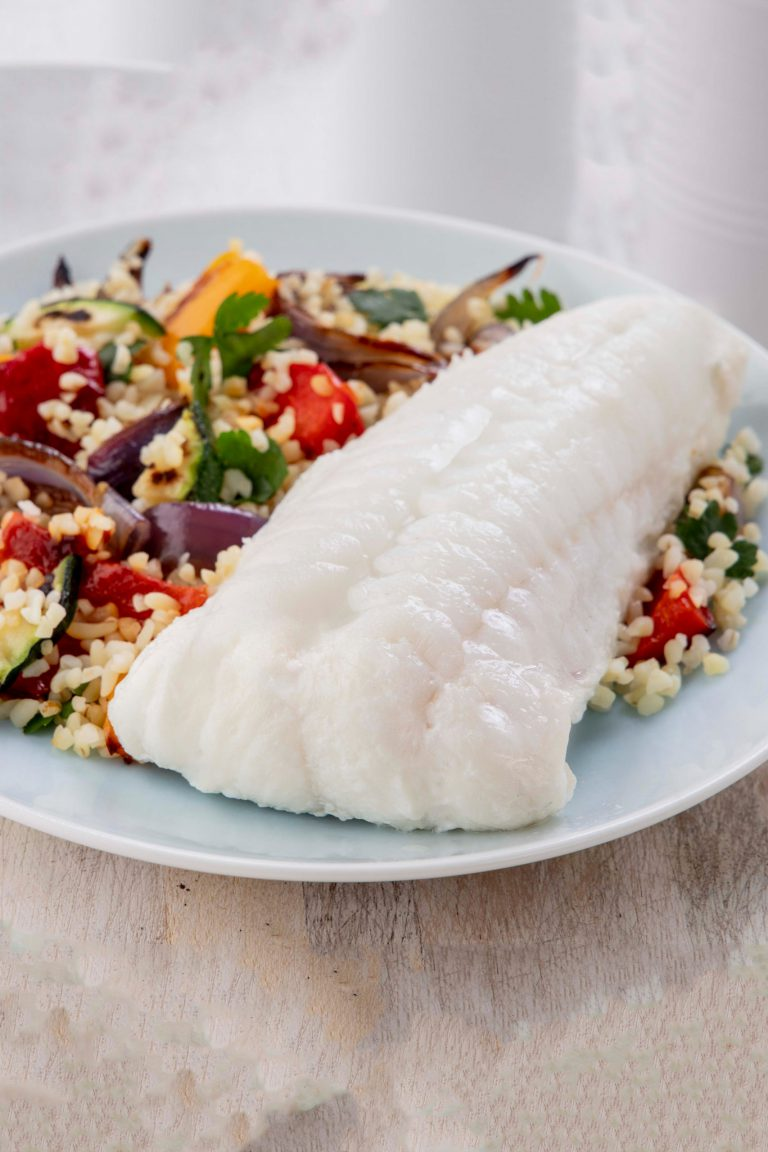 haddock fillet with couscous and roasted vegetables