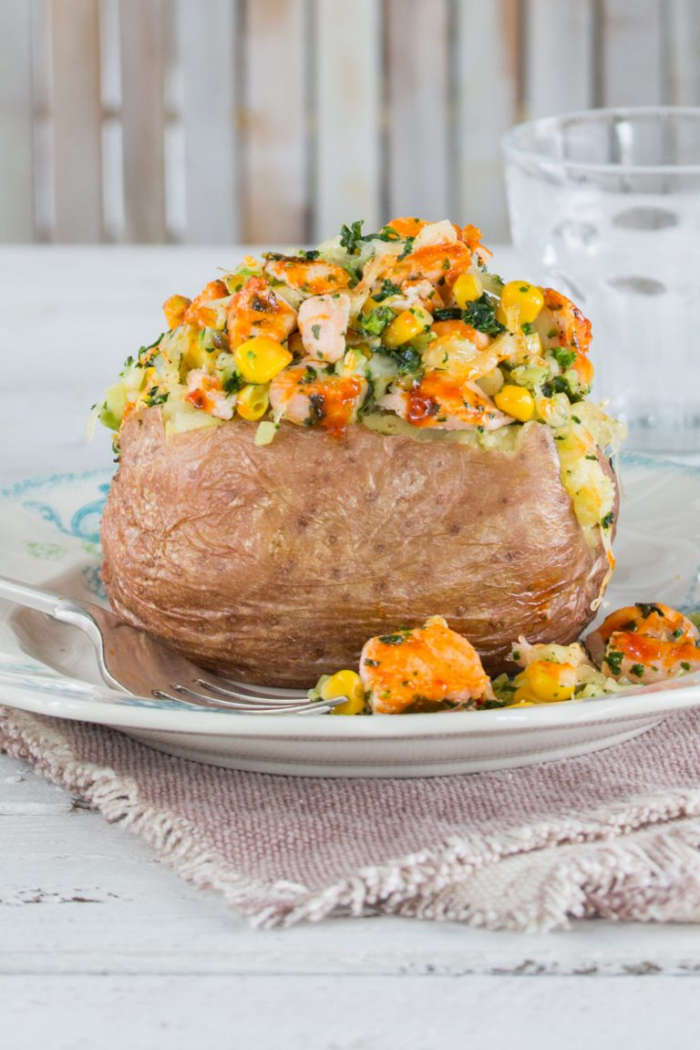 BBQ Salmon served within a Baked Potato