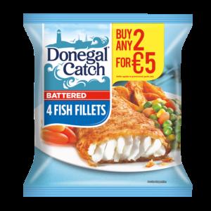 4 battered fish fillets