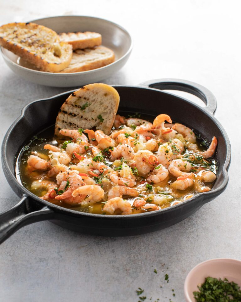 Donegal Catch Prawns Pil Pil with garlic, chilli, oil and parsley served with sourdough bread