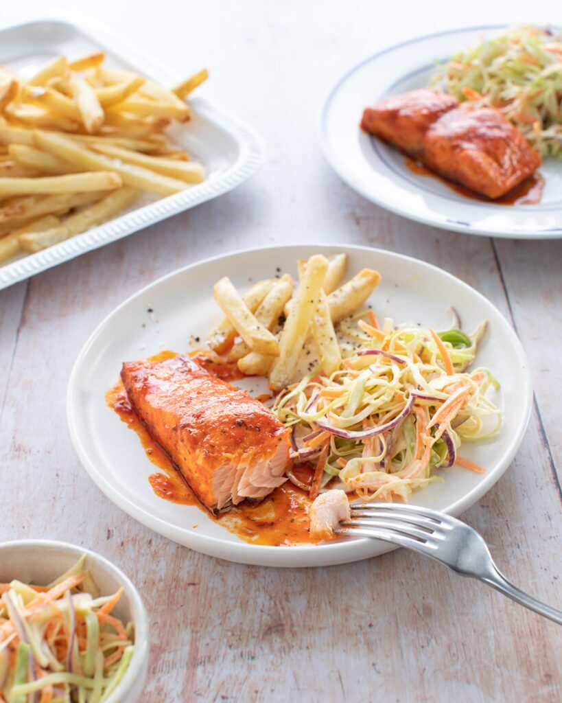 Donegal Catch BBQ Salmon chips and coldslaw