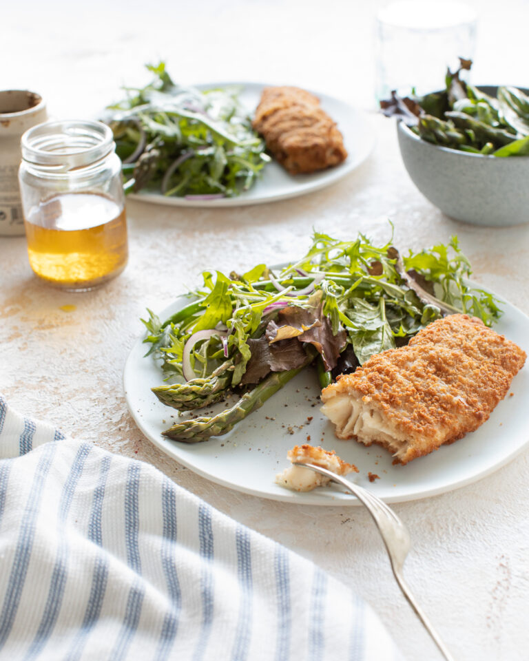 Wholegrain Donegal Catch, honey & mustard dressed green salad and asparagus