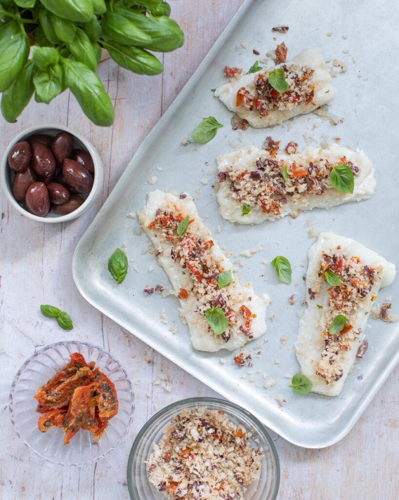Donegal Catch Natural haddock with a basil, sundried tomato and olive crust