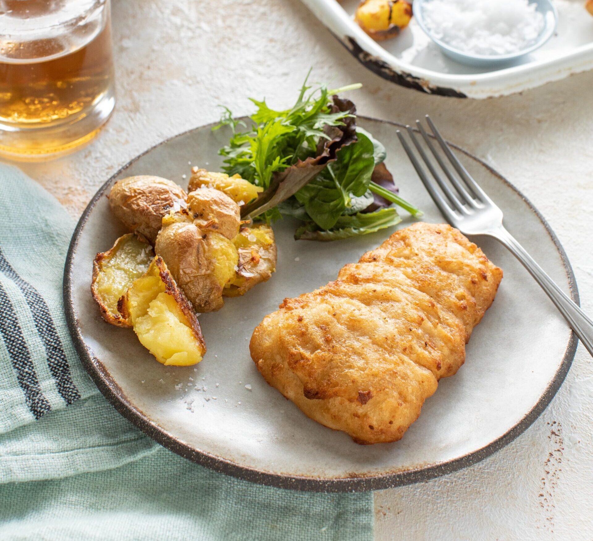 Donegal Catch Irish Pale Ale Battered Atlantic Haddock with salt and vinegar crispy potatoes