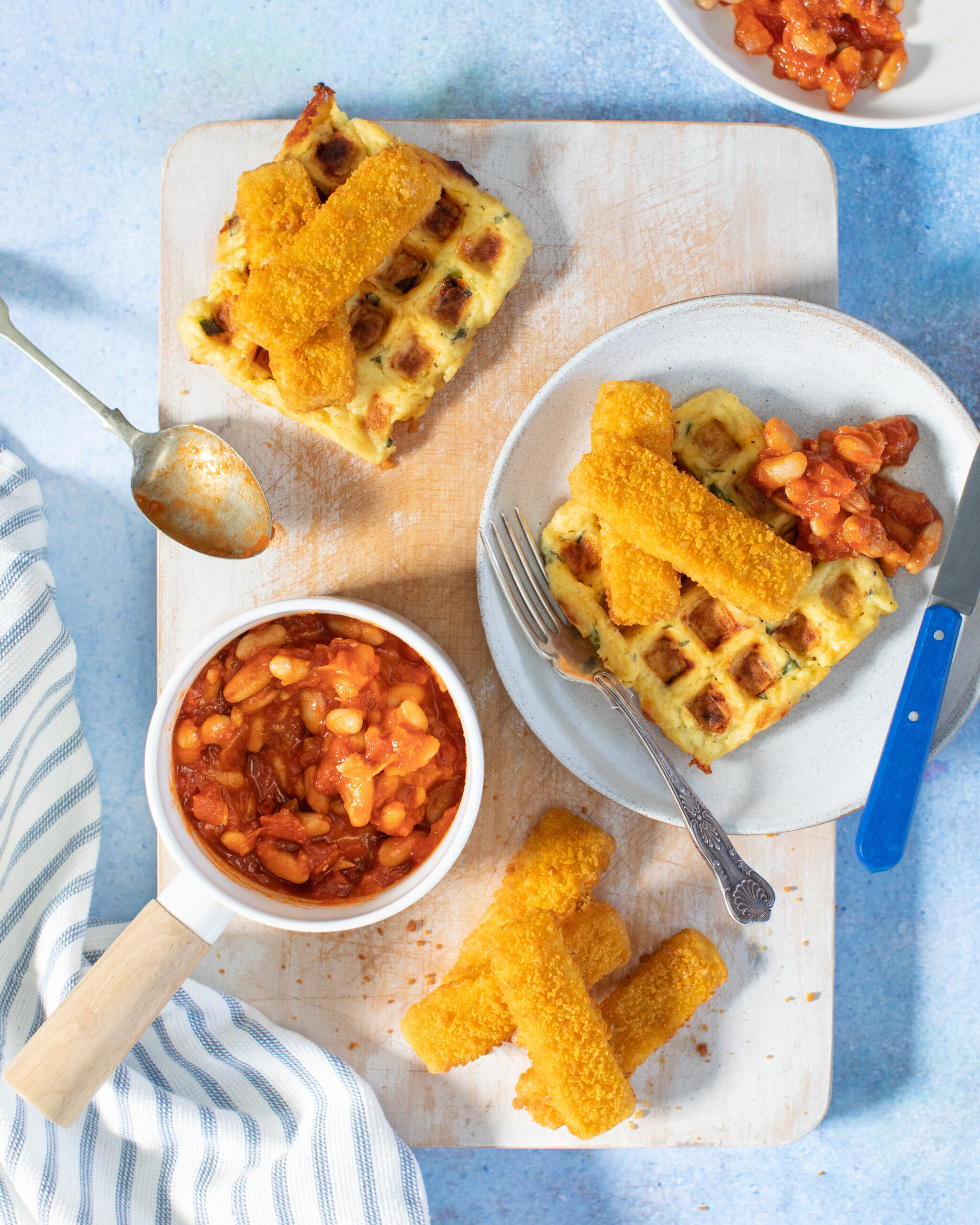 Donegal Catch Omega 3 Fish fingers, homemade potato waffles, homemade beans