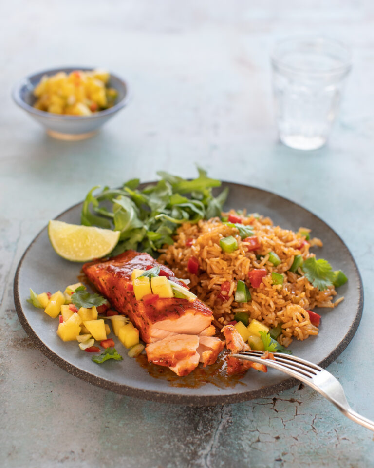 Donegal Catch BBQ Salmon with Mango salsa and rice