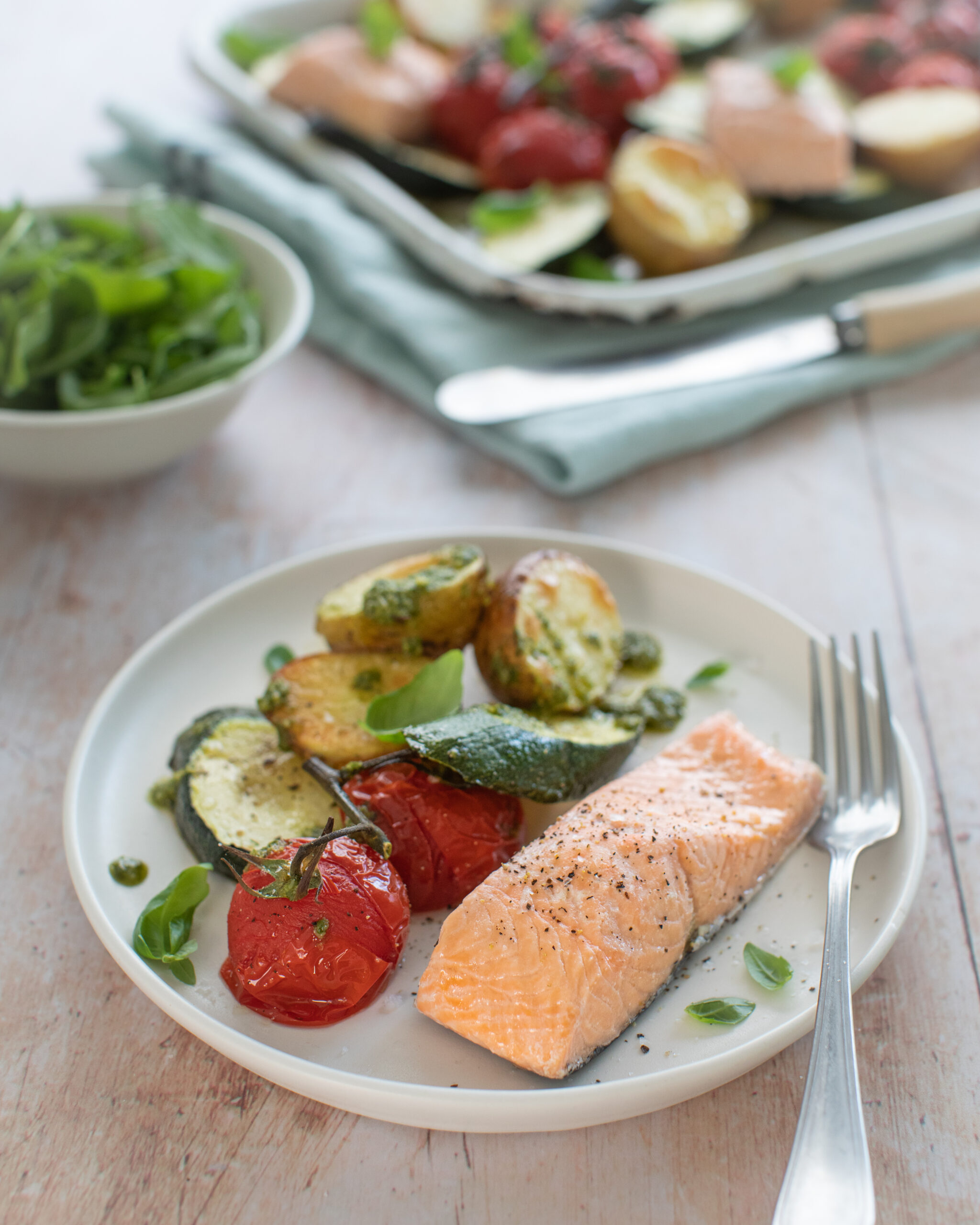 Atlantic Salmon & Vegetable Traybake with pesto