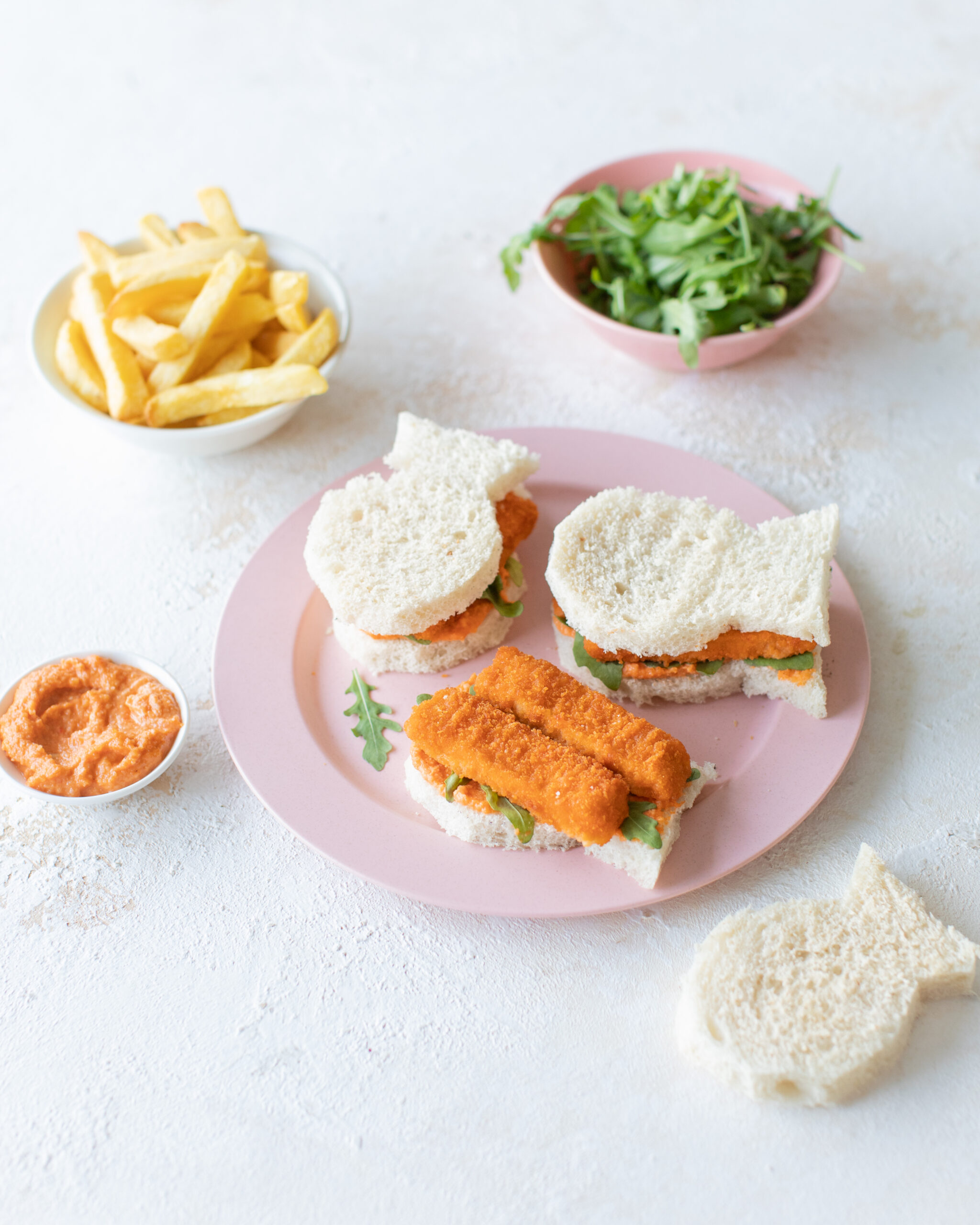 Donegal Catch Fish Shaped Fish Finger Sandwiches with crushed peas and Green Isle chips