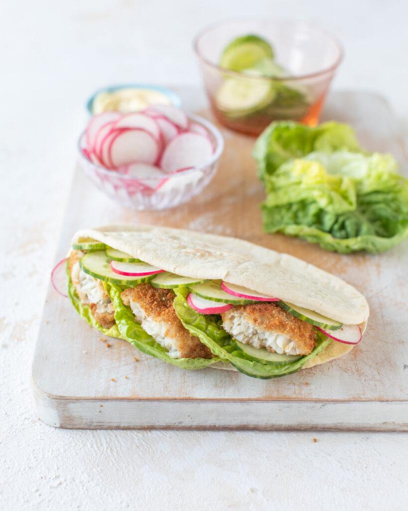 Wholegrain Donegal Catch fish in a pita with crunchy salad & lemon mayo