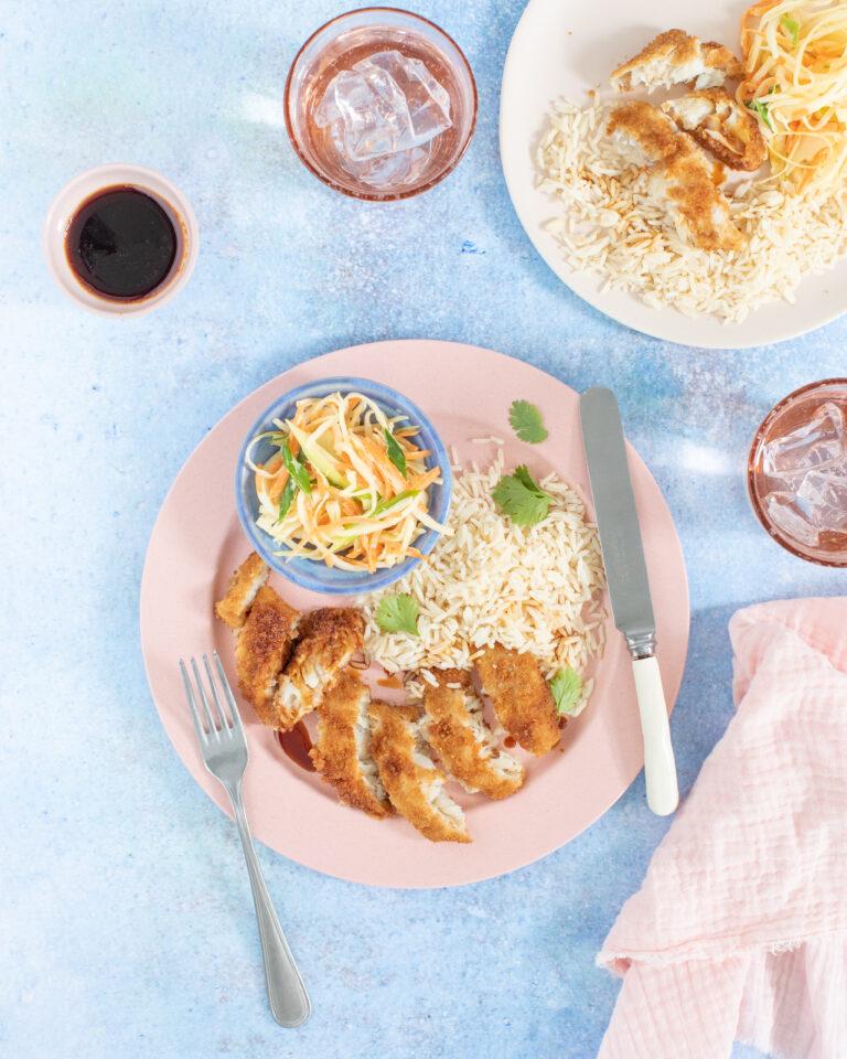 6. Wholegrain Fish, Spring Onion & Ginger Slaw, Teriyaki Sauce & Rice