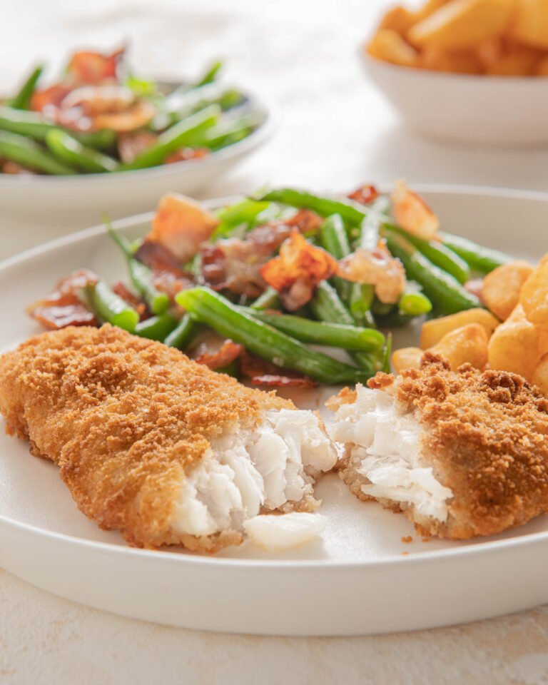 Breaded Cod with green beans & bacon & Green Isle Potato Cubes