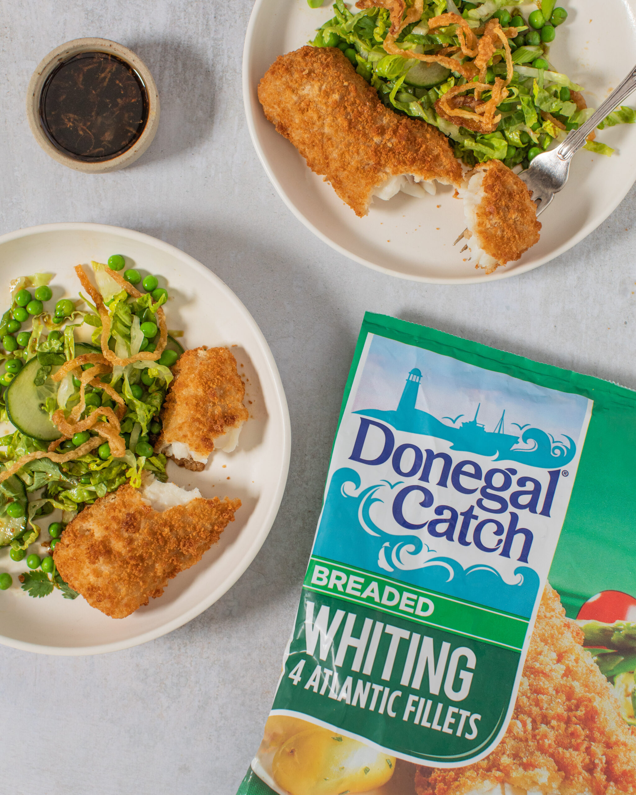 Asian crispy vegetable Salad with Donegal Catch Breaded Whiting
