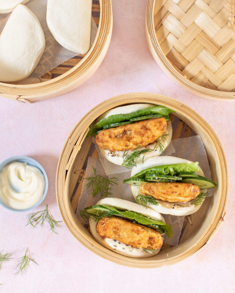 Donegal Catch Craft Cider Battered Haddock in bao buns with garlic mayonnaise and lettuce