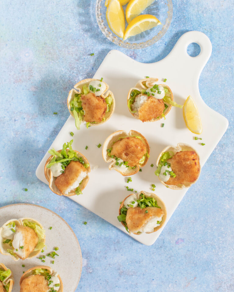 Donegal Catch Haddock Bites in tortilla cups with lettuce & tartare sauce