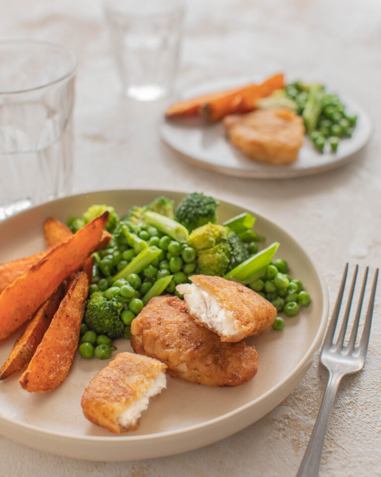 Donegal Catch Salt and Vinegar Haddock Bites with green vegetable medley & sweet potato wedges